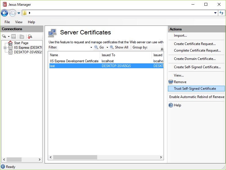 Self-Signed Certificate Generation — Jexus Manager 12.0 documentation